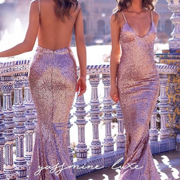 51569ba0d00 Yassmine Luxe Rose Gold Evening Gown